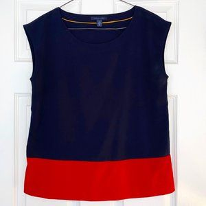 Tommy Hilfiger Sleeveless Navy Red  Blouse Small